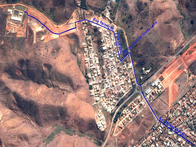 Mapa para chegar ao IFMG, campus Governador Valadares