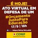 Ato virtual em defesa do orçamento da Educação