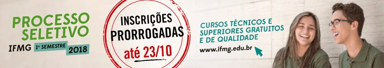 Banner processo seletivo IFMG 2018
