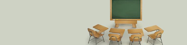 cadeiras e lousa, sala de aula