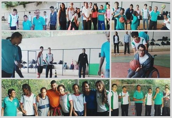 Montagem de fotos dos alunos na aula de Educação Física: Compartilhando o privilégio de conviver e aprender com as diferenças